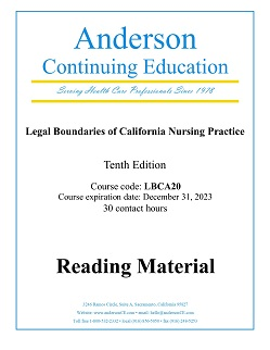 Courses for Legal Boundaries of California Nursing